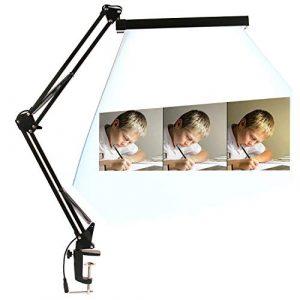 LINGYUDE LED-Schreibtischlampe, Schreibtischlampe mit Klemme, LED Swing ARM, Tischlicht verstellbar aus Metall mit 3 Helligkeitsstufen, warmes und weißes Licht, Touch-Steuerung, sehr verstellbar