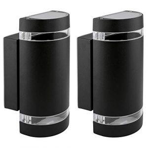 2er Set LED Wandlampe up & down – Außen Wandleuchte IP44 Aufbauleuchte halbrund Alu schwarz mit 2x LED 5W 230V GU10 warmweiß