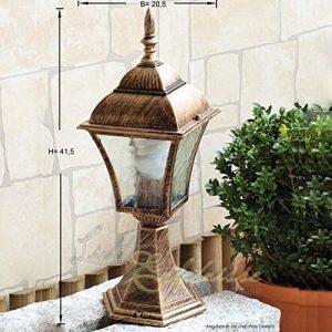 Rustikale Standleuchte in antikgold inkl. 1x 12W E27 LED 230V Stehleuchte aus Aluminium & Glas Stehlampe für Garten/Terrasse Garten Weg Terrasse Lampen Leuchte außen