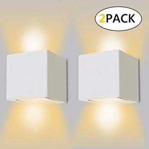 2er 12W LED Wandleuchte Innen/Außen 2700K Warmweiß Aussenleuchte mit Einstellbar Abstrahlwinkel wandlampe IP65 Wasserdichte Weiß
