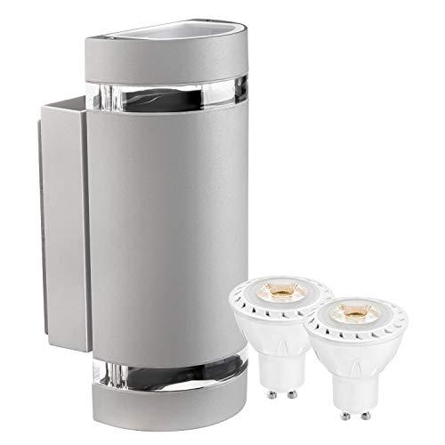 LEDANDO Hochwertige LED Wandleuchte UpDown Alu inkl. 2X LED GU10 Markenstrahler 7W - grau - warmweiß - für Innen und Außen - IP44