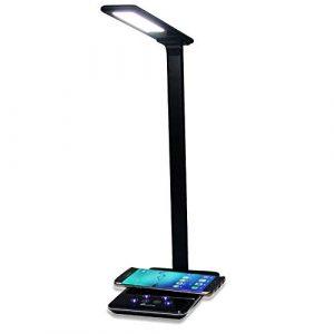 bloatboy LED-Schreibtischlampe mit Kabelloser Ladestation, 2 in 1 Ladestation Kabelloses Ladegerät, Qi-Zertifiziert, Touch-Steuerung Tischlampe Nachttischlicht (Schwarz)