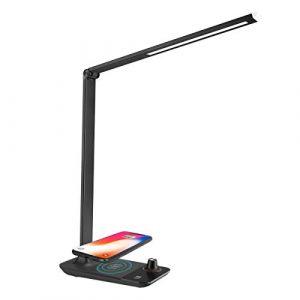 LE Tischlampe mit Wireless Charger für iPhone Samsung 9W, LED Helligkeit stufenlose und 3 Farbtemperaturen dimmbare Schreibtischlampe, Nachttischlampe und USB-Ladeanschluss eingebaut, Schwarz