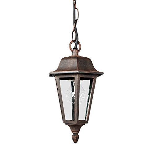 Lampenwelt Außenleuchte (Laterne) 'Lamina' (spritzwassergeschützt) (Retro, Vintage, Antik) in Braun aus Aluminium (1 flammig, E27, A++) - Pendelleuchte außen