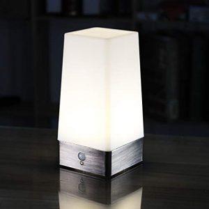 WRalwaysLX Tischlampe Nachttischlampe mit kabellosem PIR-LED-Bewegungssensor, 3 x 1,5 V AAA-Batterien, betriebenes Licht für Wohnzimmer, Schlafzimmer, Badezimmer, Flur, Küche Square