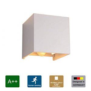 Klighten 12W LED Wandleuchte Wandlampe mit Bewegungsmelder Einstellbar Abstrahlwinkel Wasserdichte IP 65 LED Wandbeleuchtung Warmweiß [Weiß]