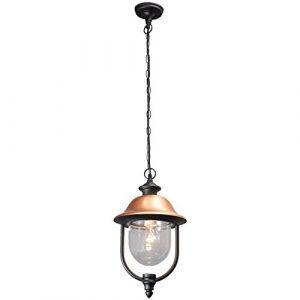 MW-Light 805010401 Außen Pendelleuchte Gartenlicht Laterne Landhaus Rustikal Schwarz Metall Kupfer Acryl IP44 1 Flammig E27 x 95W 230V