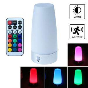 WRalwaysLX Tischlampe, Retro-LED-Nachtlicht, Nachttischlampe mit kabellosem PIR-LED-Bewegungssensor, Nachtlicht, 3 x 1,5 V AAA-Batterien, betriebenes Licht für Wohnzimmer, Schlafzimmer, Badezimmer