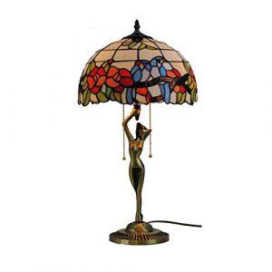 TYYW Tiffany Style Tischleuchte, 12 Zoll Europäische Schreibtischlampe Garten Schlafzimmer Nachttischlampe Wohnzimmer Licht Studie Schreibtischlampe LED Tischlampe