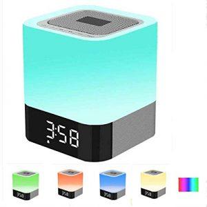 Bluetooth Lautsprecher LED Nachttischlampe, SUAVER Touch Control Dimmbare Led Lautsprecher Farbwechsel Nachtlicht Tischleuchte mit Wecker,Unterstützung Freisprechanlagen TF-Karte