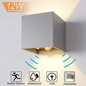 QYHOME 12W Wandleuchte Bewegungsmelder Aussen/Innen LED Wandbeleuchtung, Warmweiß Wasserdicht Verstellbare Walllampe, LED Wandleuchte Sensor für Garten/Flur/Weg (Grau)