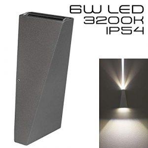 Hochwertige graue LED Wandleuchte UpDown 2 x 3W – IP54 – Für den Innen- und Außenbereich – grau/anthrazit – Warmweiß 2700K – 500lm