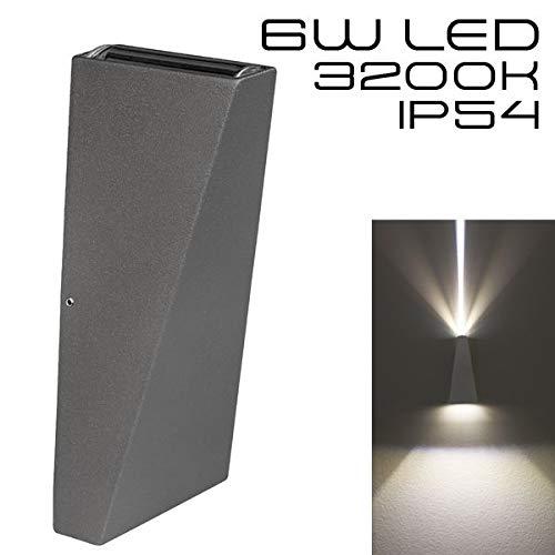 Hochwertige graue LED Wandleuchte UpDown 2 x 3W - IP54 - Für den Innen- und Außenbereich - grau/anthrazit - Warmweiß 2700K - 500lm