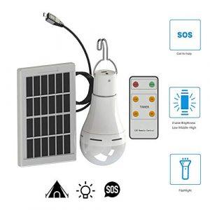 Solarbetriebene Led-Glühbirne, Konesky 9W tragbare Hängelampe wiederaufladbare Zelt-Laterne mit Timer-Fernbedienung Beleuchtung für Outdoor-Camping Wandern