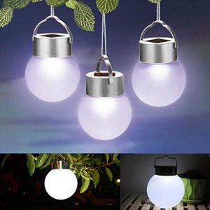 EMVANV Solar Ball Lichter im Freien, 3PCS Gartenleuchten im Freien, LED Solar Ball Hängelampe, Landschaftswegweg Gartenlicht für Party, Weihnachten, Außen, Hausdekoration(as Shown)