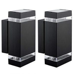 2er Set LED Wandlampe up & down schwarz – Außen Wandleuchte IP44 Aufbauleuchte inkl. 2x LED Leuchtmittel 3W 230V GU10 warmweiß