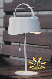 Kamaca LED Solar Tischlampe, 40 Lumen, warmweiß, für den Außengebrauch, mit Dämmerungssensor und Kordelzug zum EIN- und Ausschalten, 13 cm hoch
