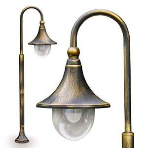 Außenleuchte Elgin, Stehleuchte in antikem Look, Metall in Braun/Gold, mit Lampenschirm aus Kunststoff, Wegeleuchte 120 cm, Retro/Vintage Gartenlampe, E27-Fassung, max. 60 Watt, IP44
