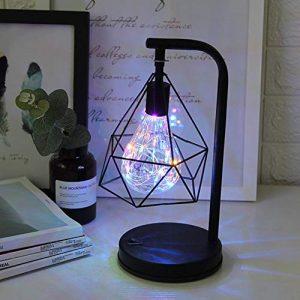 HOMYY Metall Tischlampe,Tischleuchte im Retrostil, Retro Tischleuchte Dekorative Nachttischlampe Diamond Form Schreibtischlampe Nachtlicht dekorative Beleuchtung (Colorful)