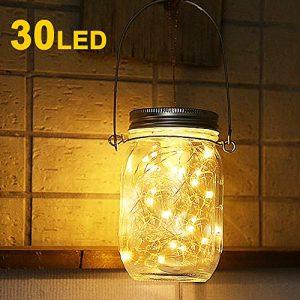 Solarlampen Außen, Nasharia 30er LED Solar Mason Jar Licht, Solarlicht Einmachglas, Solar Glas Warmweiß Garten Hängeleuchten für Party, Weihnachten, Hochzeit