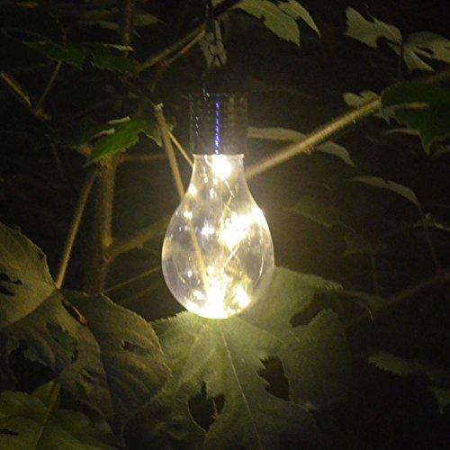 1 PC Solarlampe Solar Birne,BBTXS LED Solar Hängeleuchten Glühbirne Wasserdicht Outdoor Garten Camping Hängen LED Leuchte Lampe Glühbirne Glas, transparent