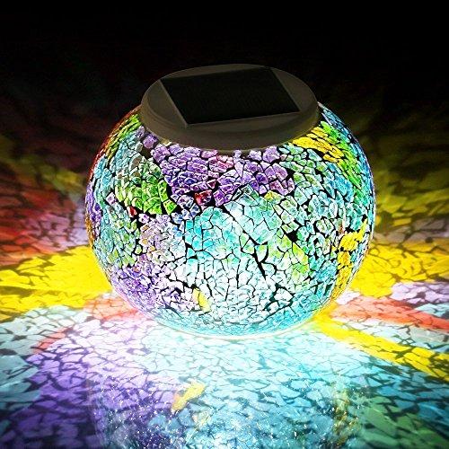 SUAVER Bunte Sphärische Mosaik Lampe,Wasserdichte LED Magic Kugel Leuchten Solar Mosaik Tischlampe für Garten, Patio, Tabelle, Zimmer (Red & Blue)