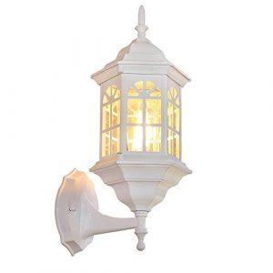 DFEIL Garten im Freien Balkon Retro Wandleuchte Wohnzimmer Schlafzimmer Nachttischlampe Aluminium Wasserdicht IP54 Wandlaterne Gang Korridor Gartentreppe Wandleuchte E27 Leuchte Beleuchtung – Weiß