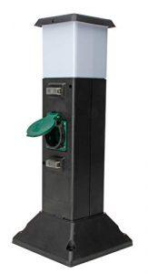 Energiesäule mit 2 Schutzkontaktsteckdosen mit Klappdeckel und Lampenfassung, inklusive Erdspieß, Standleuchte, Gartensteckdose, Außenlampe, schwarz/grün, IP44, 145326012