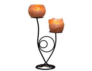 Klass Home Collection® handgefertigten Schmiedeeisen handgemachte Himalaya ionisierender Rock Salz Teelichthalter (Doppel Blume)