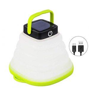 QYL Tragbare LED-Solarlampe, IP68 wasserdicht für Outdoor-Camping-Laternenlichter, Solar- oder USB-aufladbares Wanderzelt-Garten