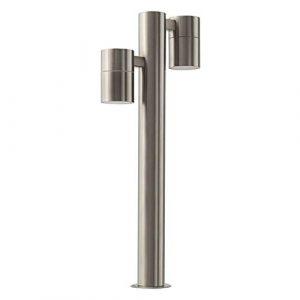 LED Standleuchte Sockelleuchte Pollerleuchte Wegleuchte Edelstahl Außenleuchte IP44 GU10-230V (Form:S11) (Warmweiß)
