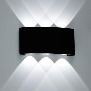 ETiME LED Wandleuchte außen Wandlampe Wasserdicht IP65 LED Wandbeleuchtung Schwarz (12W Kaltweiß)