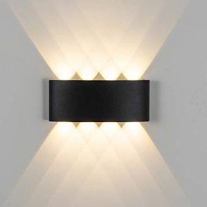 Erwei 16W LED Wandleuchte Außen Warmweiß Wandlampe LED 120° Abstrahlwinkel IP65 Design Modern Wandbeleuchtung Wasserdicht aus Aluminium (Schwarz 16W Warmweiß)
