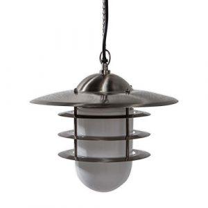 Lampenwelt Außenleuchte 'Mian' (spritzwassergeschützt) (Modern) in Alu aus Edelstahl (1 flammig, E27, A++) – Pendelleuchte außen