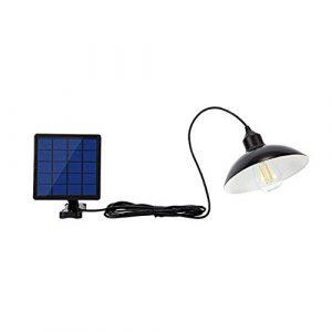 OurLeeme Outdoor Solar Licht, LED Retro Wasserdichte Hängelampe mit Lampenschirm Solar LED Birne Pendelleuchte mit Schnur für Garden Yard Home (Lampenschirm)