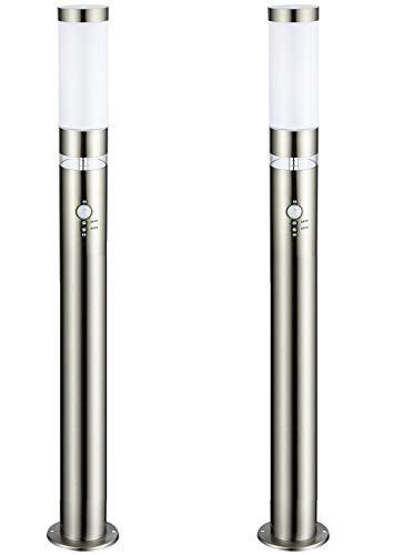 2 x LED Außen-Leuchte Stehleuchte Lisa Höhe 1m Hauptlicht E27 mit Bewegungsmelder, LED Ring als Grundlicht Außen-Lampe Wege-Leuchte hochwertig
