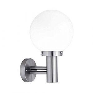 Außen Wandleuchte Fassadenleuchte Edelstahl weiße Glaskugel Wandlampe E27 max. 60 Watt LED fähig
