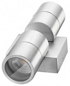 LEDANDO Hochwertige LED Wandleuchte UpDown Alu inkl. 2X LED GU10 Markenstrahler 5W – CNC gefrästes Alu – Silber – warmweiß – für Innen und Außen – IP65