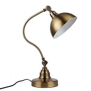 ASDF Henley Retro Tischlampe Schreibtischlampe Vintage Lampe Einstellbar Leselampe für Knopfschalter Wohnzimmer Studie Schlafzimmer Nachttischlampe Dekoration Nachtlicht, Bronze