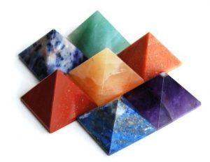 echtem Edelstein feine Qualität Pyramiden metaphysisch Pyramiden 25-30mm, Stein, 7 Chakra Stone Pyramid Set, 25-30 mm
