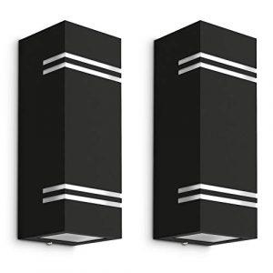 2 Stück LED Wandleuchte Up Down Außen IP44 – mit 4x LED GU10 3W warmweiß – Lampe wechselbar – schwarze Außenwandleuchte JOVO-L