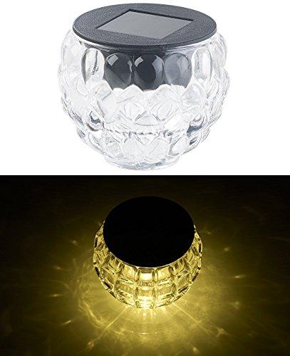 Lunartec Solar-Windlicht-Laterne: Solar-LED-Windlicht Lucilla mit tollem Lichtmuster, Glas, IP44, Ø 8 cm (Garten LED Deko Beleuchtung)