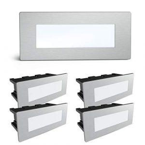 SSC-LUXon® 5er Set Piko-S LED Wandleuchte Außen Edelstahl gebürstet – Treppenbeleuchtung Spot mit IP65 230V 1.5W neutralweiß