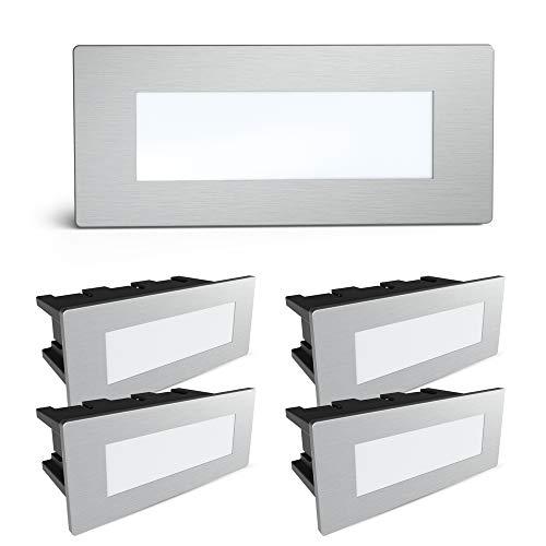 SSC-LUXon® 5er Set Piko-S LED Wandleuchte Außen Edelstahl gebürstet - Treppenbeleuchtung Spot mit IP65 230V 1.5W neutralweiß
