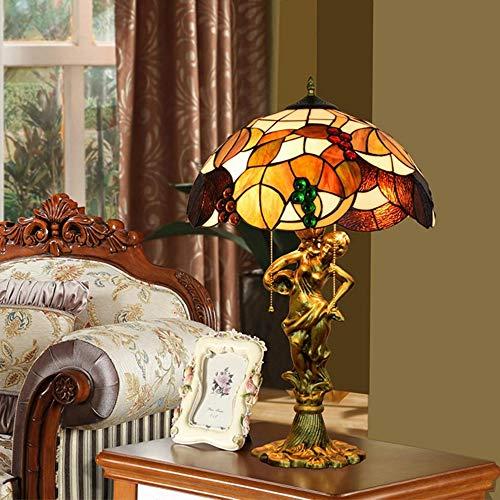 ASDF Tiffany Tischlampe, Henley 16-Zoll Glasmalerei Nachttischlampe Schlafzimmer Wohnzimmer Lampe Art Deco Tiffany Stil Vintage Tischlampe E27*3