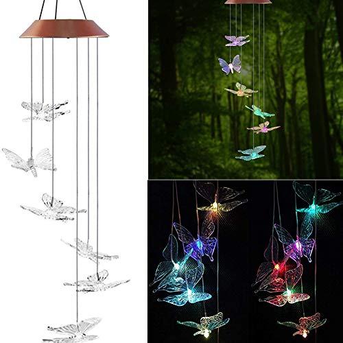 Danolt Solar Windspiel LED Schmetterling Farbwechsel Hängeleuchte für Garten Dekoration.