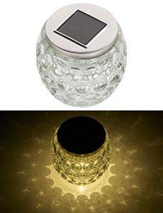 Lunartec Solar Tischleuchten: Solar-LED-Windlicht aus Glas, mit tollem Lichtmuster, IP44, Ø 10 cm (Solar Tischlicht)
