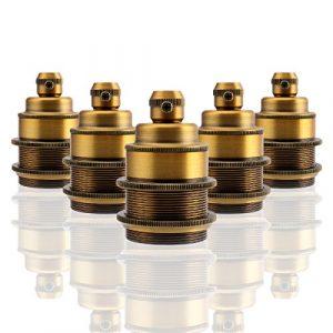 GreenSun LED Lighting 5er E27 Vintage Lampenfassung Metall Look Fassung E27 Retro Industrie Look Lampenfuß für Pendelleuchte, Antique Brass