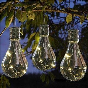 LEDMOMO Solar Hängeleuchten Wasserdichte LED Globes Birne Lichter Lampe für Outdoor Garten Camping (Transparente Schale mit Vier Farben Licht)