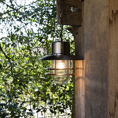 QAZQA Modern Pendel-Außenleuchte Shell Stahl/Silber/nickel matt/Außenbeleuchtung Glas/Edelstahl Rund LED geeignet E27 Max. 1 x 60 Watt